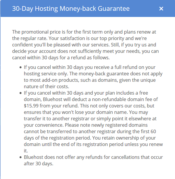 bh money back guarantee